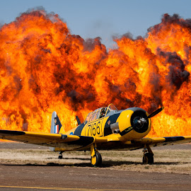 The Heat is on by Glen Fouche' - Transportation Airplanes ( plane, airplane, explosion, fireworks, zwartkops, fire, air show )