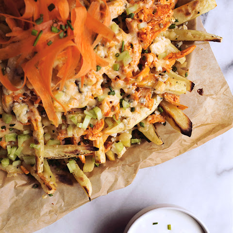 Buffalo Style Loaded Sweet Potato Fries {Gluten-Free, Primal with Vegetarian Option}