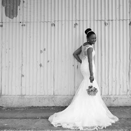 At the train station  by Angela Butler Pretorius - Wedding Bride ( bouquet, black and white, texture, bride, rustic,  )