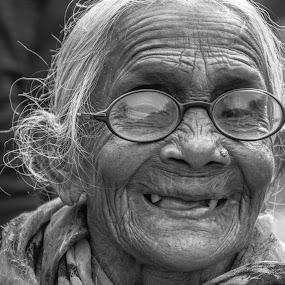 Hidden Smile  by Vishal  Singh - Uncategorized All Uncategorized ( old_lady, people, portrait, culture, travel photography )