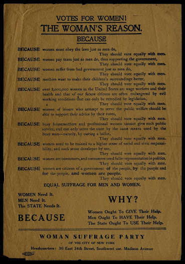 "Suffragists were part of a broader reform movement that also included support for peaceful resolution of conflict. View this women's suffrage poster on the <a href=""http://www.gilderlehrman.org/collections/5c59ab7b-6540-4082-947e-231600312985"">Gilder Lehrman website</a>."