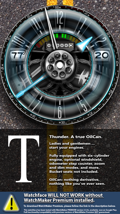 OilCanX2-Thunder watchface Screenshot 1