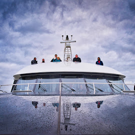Adventure Seekers by Garry Dosa - Transportation Boats ( rainy, yacht, lady jane franklin ii, stormy, outdoors, reflections, weather. wet, travel, people, water, boat )