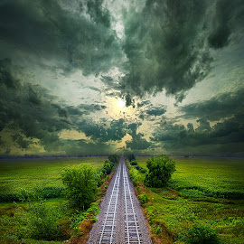 Onward by Phil Koch - Transportation Railway Tracks ( vertical, arts, fine art, travel, yellow, love, sky, nature, traintracks, weather, light, trending, colors, twilight, art, mood, journey, horizon, rural, portrait, country, dawn, environment, season, serene, popular, outdoors, lines, natural, hope, inspirational, canon, wisconsin, ray, railroad, joy, landscape, sun, photography, life, emotions, dramatic, horizons, inspired, clouds, office, heaven, camera, beautiful, scenic, living, morning, field, unity, blue, sunset, peace, meadow, summer, beam, sunrise, earth )