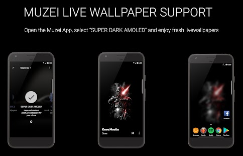 About DARK AMOLED Live Wallpapers for S8, Material UI 📱