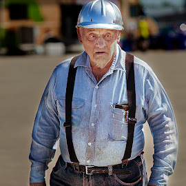 Old Timer  by Sandra Hilton Wagner - People Portraits of Men ( blue collar, worker, elderly, hard hat, rugged, man, character )