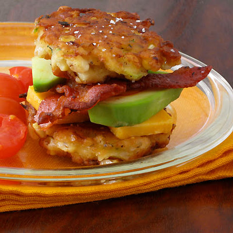 Sweet on Corn- Corn & Zucchini Fritter Stacks with Bacon and Avocado