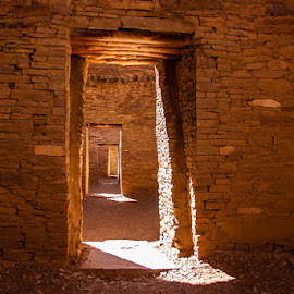 Casting Light & Shadows for Over 1000 Years by Jan Irons - Buildings & Architecture Public & Historical ( chaco canyon, doorway, pueblo bonito, pueblo, light,  )