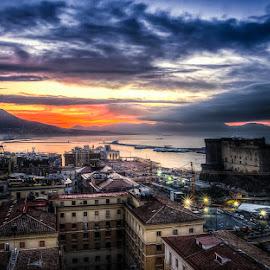 Naples Sunrise by Brent Lindsay - City,  Street & Park  Vistas ( naples, harbor, castle, ocean, sunrise )