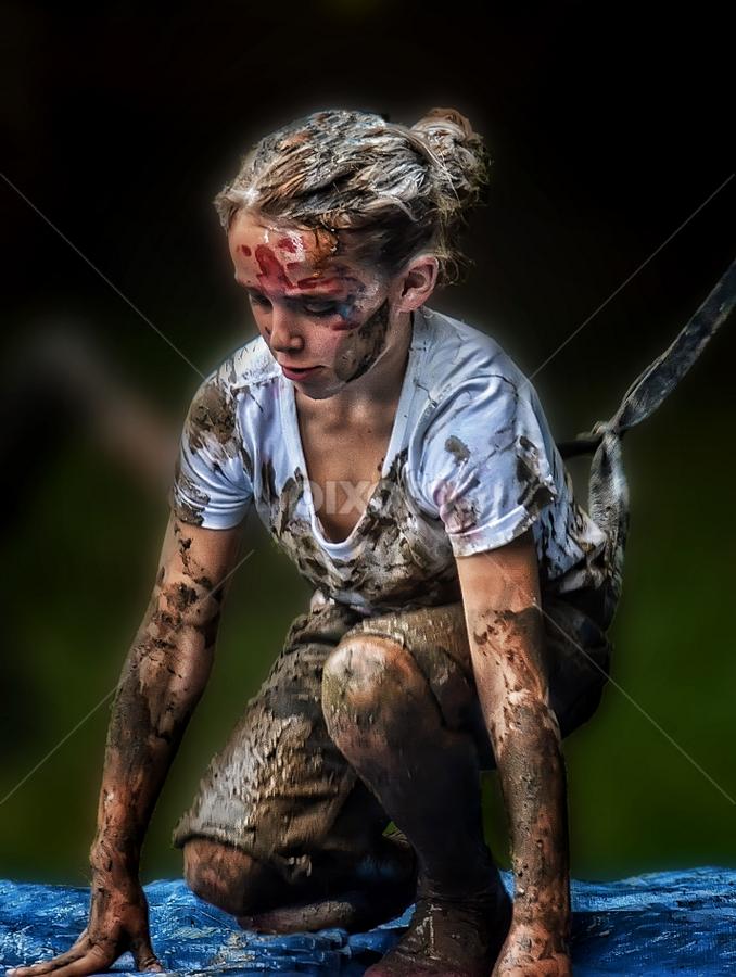 exhausted by Ghislain Vancampenhoudt - Babies & Children Children Candids ( mud, tired, fun, wet, dirt )