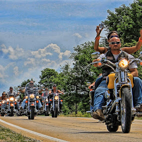 Look Mom, No Hands!!! (but I'm not driving) by Ted Anderson - Transportation Motorcycles ( harley, riding, bikers, motorcycle, road )