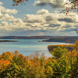 Hints of Fall by Donna Sparks - Landscapes Waterscapes ( sleeping bear dunes, color, fall, northern michigan )