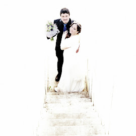 by Isaac Gershon - Wedding Bride & Groom ( high key, wedding photography, stairs, wedding outdoor, wedding, wedding day, sun light, bride and groom, bride, groom, bride groom )