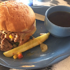 Shaved prime rib for the French dip ! Great soft GF bun!
