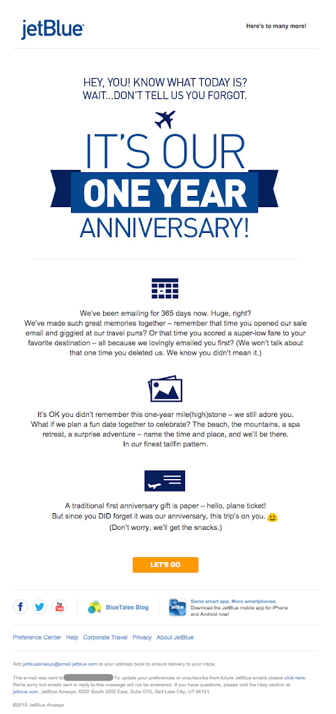 JetBlue - email - change