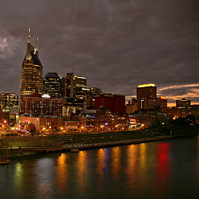 Nashville, Tennessee by Jerry Ehlers - City,  Street & Park  Skylines ( skyline, sunset, nashville, tennessee, night, river, reflection, reflections, mirror )
