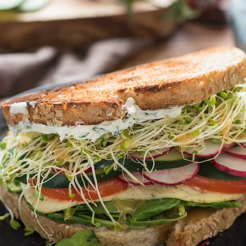 The Best Veggie Sandwich with Herbed Cream Cheese