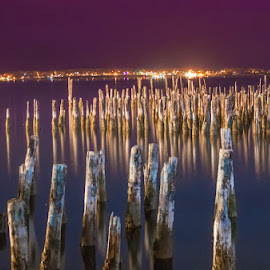 Remnants in the Night by Chris Cavallo - Landscapes Waterscapes ( east coast, night photography, maine, atlantic ocean, remnant, pier, ocean, atlantic, nightscape, abandoned )