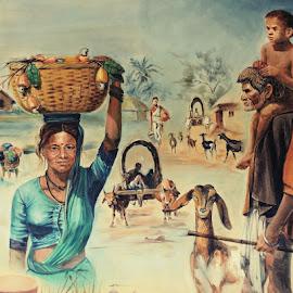 Village scene by SANGEETA MENA  - Drawing All Drawing