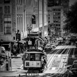 Trolley's On The Way by T Sco - Black & White Street & Candid ( hill, move, road, street, cable car, track, people, building, trolley, transportation )