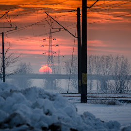 Winter Sunset by Marius Papp - Landscapes Sunsets & Sunrises