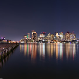 The View from East Boston by Paul Gibson - City,  Street & Park  Skylines ( boston, reflection, reflections, night, long exposure,  )