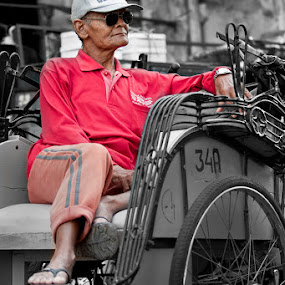 Becak Driver by Hernan Halim - People Portraits of Men ( yogyakarta, jogjakarta, driver, people, becak, human )
