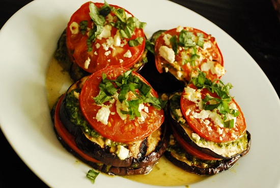 Grilled Eggplant with Tomatoes and Feta Recipe | Yummly
