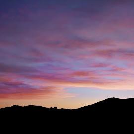 Palm Sunday Sunset by Sharon Soberon - Digital Art Places ( clouds, digital paint effect, hills, california, sunset, sunset silhouette )