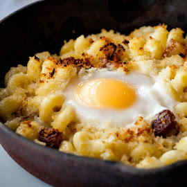 Breakfast Mac & Cheese by Jim DeMicco - Food & Drink Plated Food ( mac & cheese, skillet, cheese, macaroni, egg )