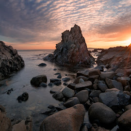 The sunrise by Atanas Donev - Landscapes Waterscapes ( waterscape, sea, ocean, sunrise, rocks )