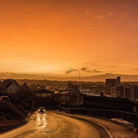 Golden by Trond Strand - City,  Street & Park  Street Scenes ( car, orange, street, shine, road, yellow, sun, winter, sunset, night, wet, light, rain, golden )