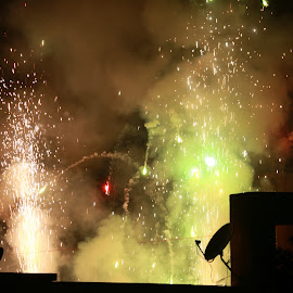 Fireworks by Subhajit Basak - Abstract Fire & Fireworks ( abstract, colourful, kolkata, fireworks, india, bengali, celebration, bengal, light, culture, fire, colours )