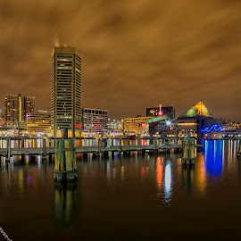 Calm and cloudy night by Deborah Felmey - City,  Street & Park  Skylines ( water, harbor, baltimore, reflections, cityscape, city,  )