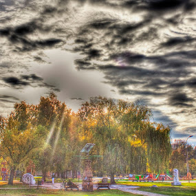 tschair by Aleksandar Z Dimitrijević - City,  Street & Park  City Parks ( clouds, playground, autumn, sunset, trees, city park, sun )