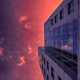 Building in the sunset by Bogdan Alexandru - Buildings & Architecture Office Buildings & Hotels ( office, urban, reflection, building, red, sky, sunset, glass )