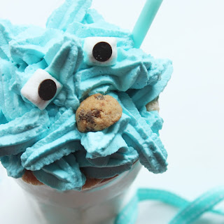 Cookie Monster Milkshake made with cookie dough!