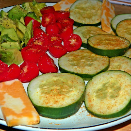 Veggies and cheese by Sandy Stevens Krassinger - Food & Drink Plated Food ( cheese slices, cucumber, food, avocado, plated food, tomatoe )