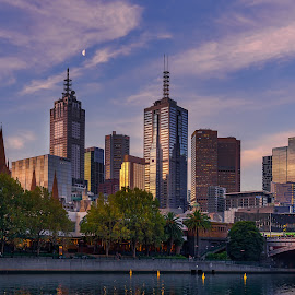 Moon over Melbourne by Keith Walmsley - City,  Street & Park  Skylines ( victoria, moon, offices, cityscape, australia, bridge, clouds, water, towers )