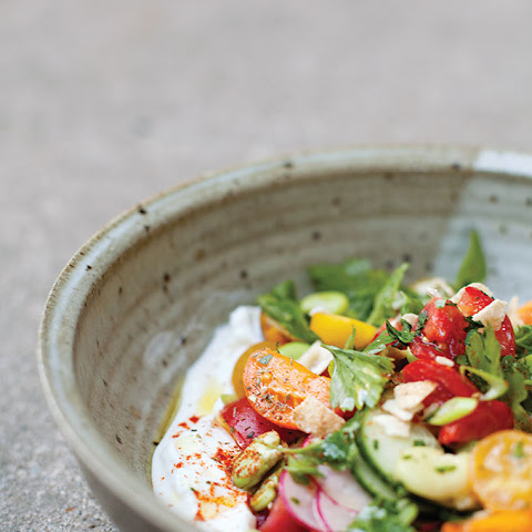 Fattoush with Fava Beans and Labneh