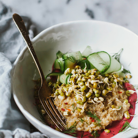 Sprouted Mung Bowl With Coconut Quinoa + Beet Tahini
