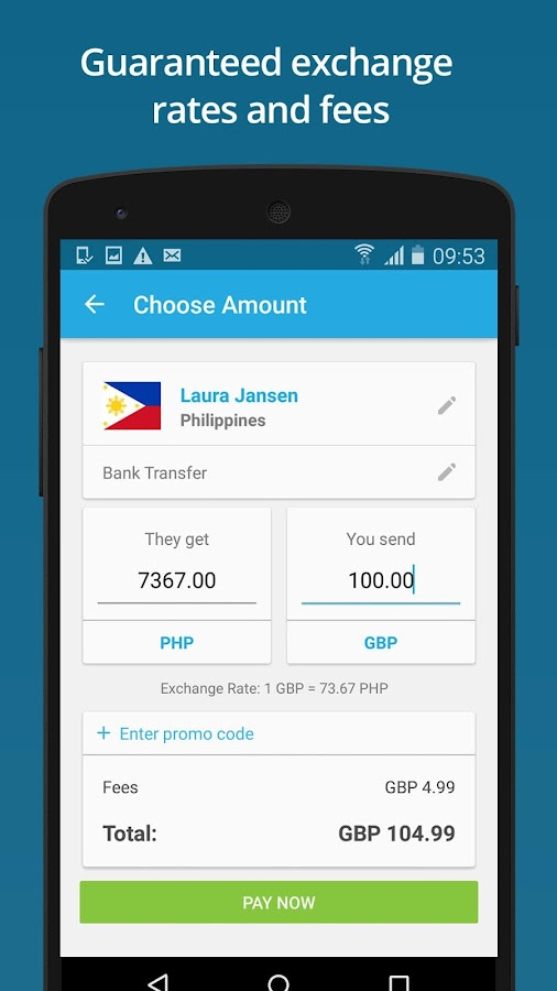 WorldRemit Money Transfer Screenshot 1