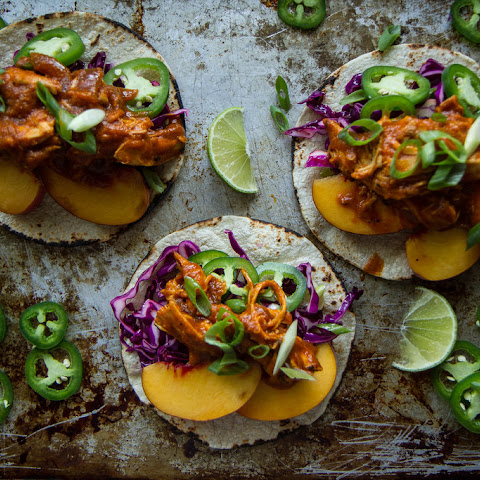 Peach Chipotle Chicken Tacos