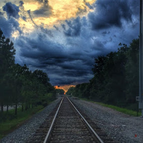 Tonight's sunset by Tracy Bumann - Transportation Railway Tracks