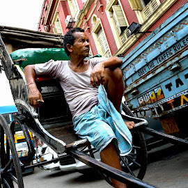 Poor Earner by Er Subhadip Das - People Professional People ( calcutta, earner, kolkata, poor earner, rickshaw, poor, rickshaw puller, puller, professional people, professional )