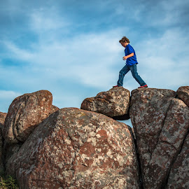 Walk On The Wildside by Kathy Suttles - Babies & Children Children Candids ( suttleimpressions, large rocks, oklahoma, outdoors, boy, mt scott, walk on wildside )