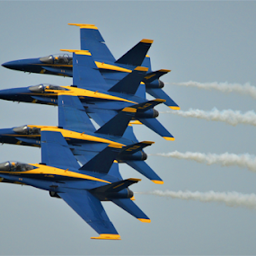 1, 2, 3, 4 by Benito Flores Jr - Transportation Airplanes ( blue angles, numbers, texas, navy, smoke, formation,  )