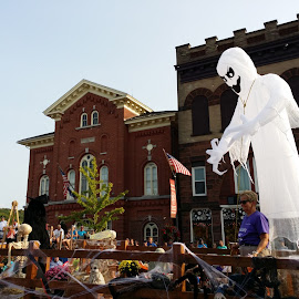 Ghost Float by Rita Goebert - Public Holidays Halloween ( ghost; halloween; canaltown parade; palmyra; new york; historic buildings )