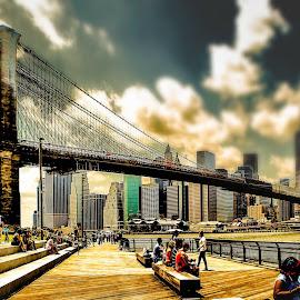 BROOKLYN BRIDGE by Maks Erlikh - City,  Street & Park  Skylines ( brooklyn bridge, manhattan, suspension bridges east river, brooklyn )