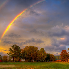 The Pot Of Gold Is Mine by Randell Whitworth - Landscapes Weather ( clouds, sun set, hdr, park, nc, concord, storm, rainbow, rain )